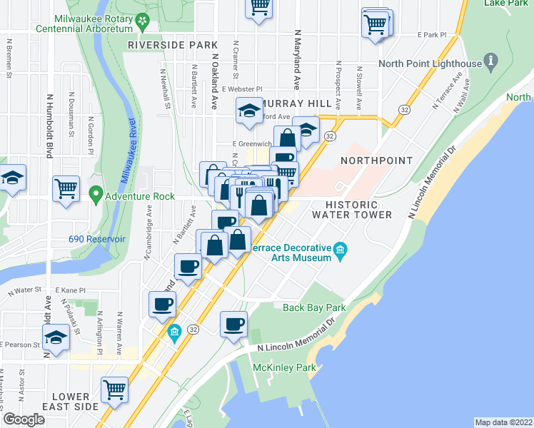map of restaurants, bars, coffee shops, grocery stores, and more near 2217 North Prospect Avenue in Milwaukee