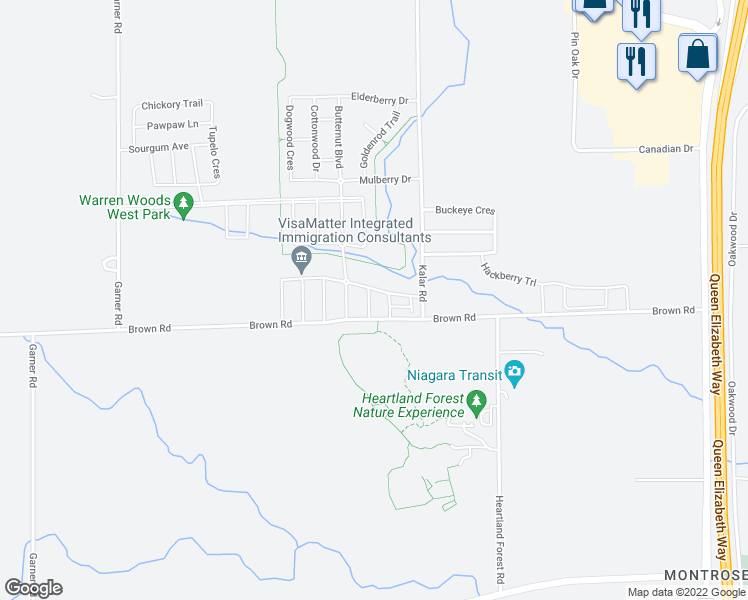 map of restaurants, bars, coffee shops, grocery stores, and more near 7849 Hoptree Road in Niagara Falls