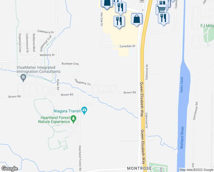 map of restaurants, bars, coffee shops, grocery stores, and more near 7822 Hackberry Trail in Niagara Falls