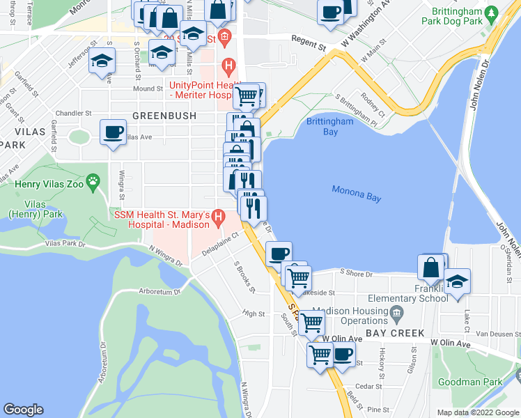 map of restaurants, bars, coffee shops, grocery stores, and more near West Shore Drive in Madison