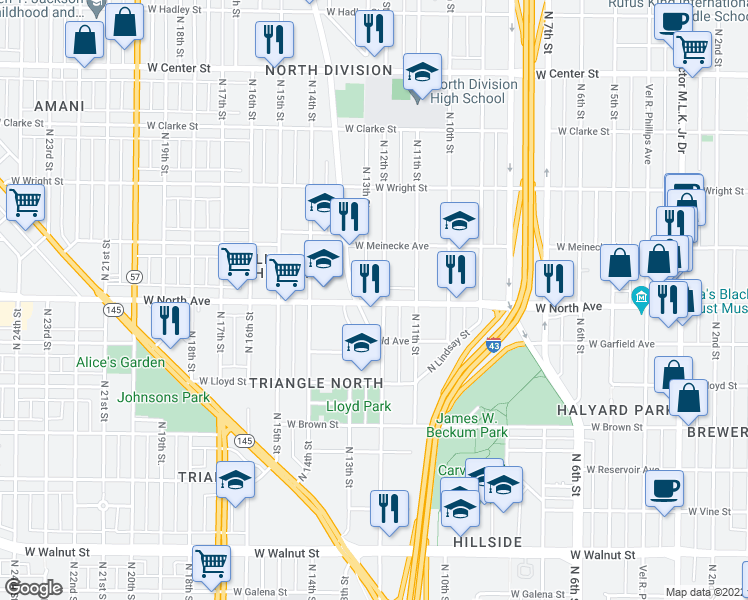 map of restaurants, bars, coffee shops, grocery stores, and more near 1210 West North Avenue in Milwaukee