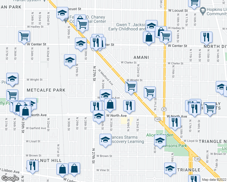 map of restaurants, bars, coffee shops, grocery stores, and more near 2428 North 25th Street in Milwaukee
