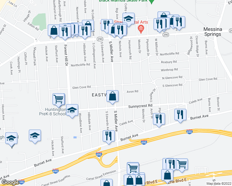 map of restaurants, bars, coffee shops, grocery stores, and more near 325 South Midler Avenue in Syracuse