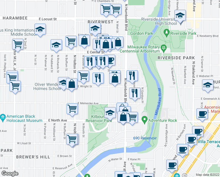 map of restaurants, bars, coffee shops, grocery stores, and more near 901 East Wright Street in Milwaukee