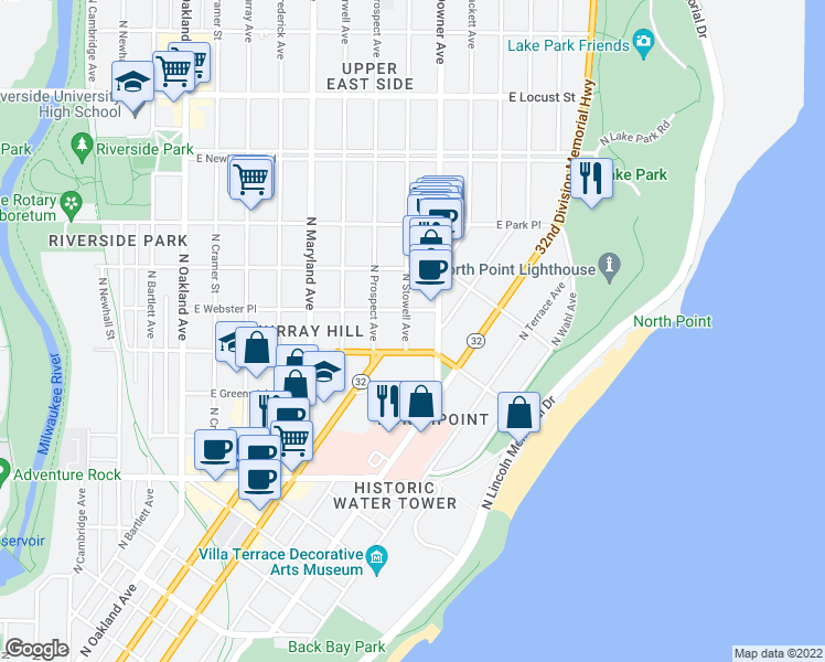 map of restaurants, bars, coffee shops, grocery stores, and more near 2520 North Stowell Avenue in Milwaukee