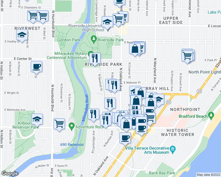 map of restaurants, bars, coffee shops, grocery stores, and more near 2519 North Bartlett Avenue in Milwaukee