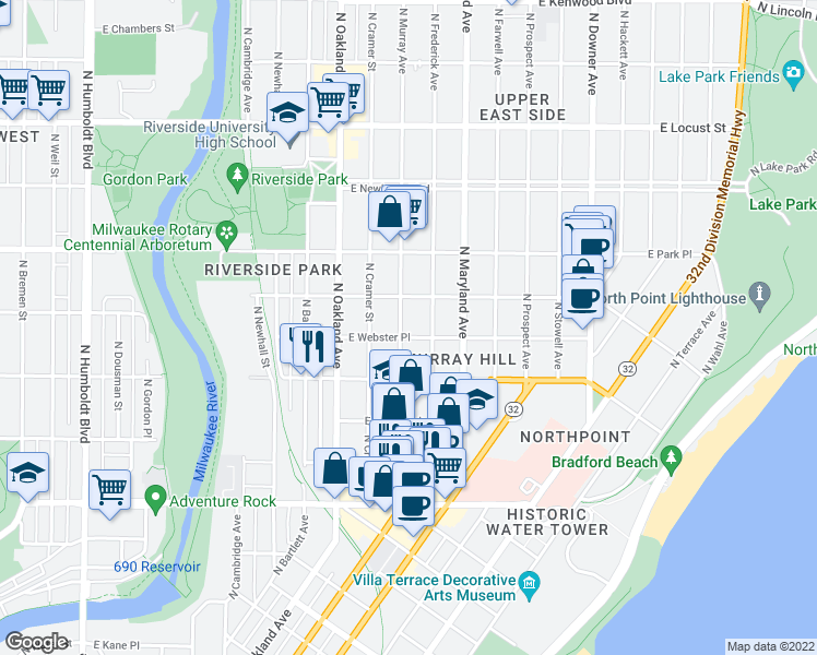 map of restaurants, bars, coffee shops, grocery stores, and more near 2556 North Murray Avenue in Milwaukee