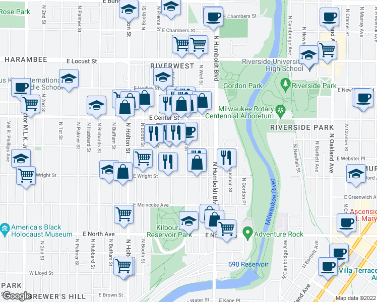 map of restaurants, bars, coffee shops, grocery stores, and more near 2554 North Bremen Street in Milwaukee