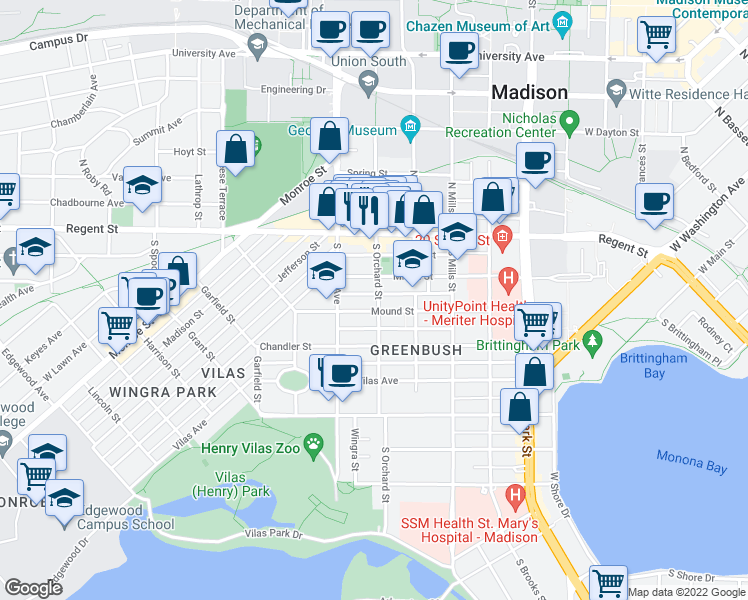 map of restaurants, bars, coffee shops, grocery stores, and more near 116 South Orchard Street in Madison