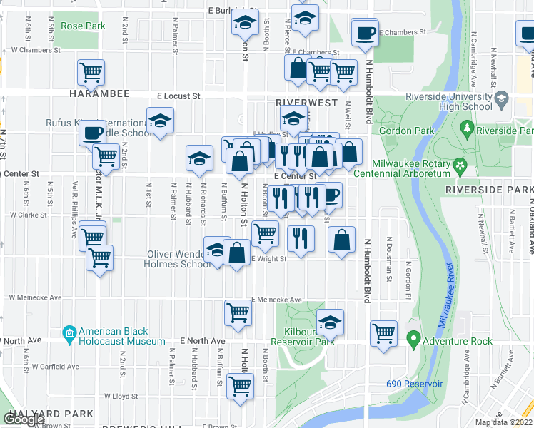map of restaurants, bars, coffee shops, grocery stores, and more near 2602 North Booth Street in Milwaukee
