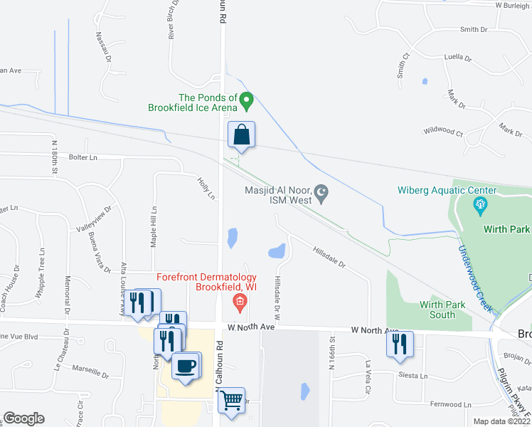 map of restaurants, bars, coffee shops, grocery stores, and more near 16955 Hidden Pond Court in Brookfield
