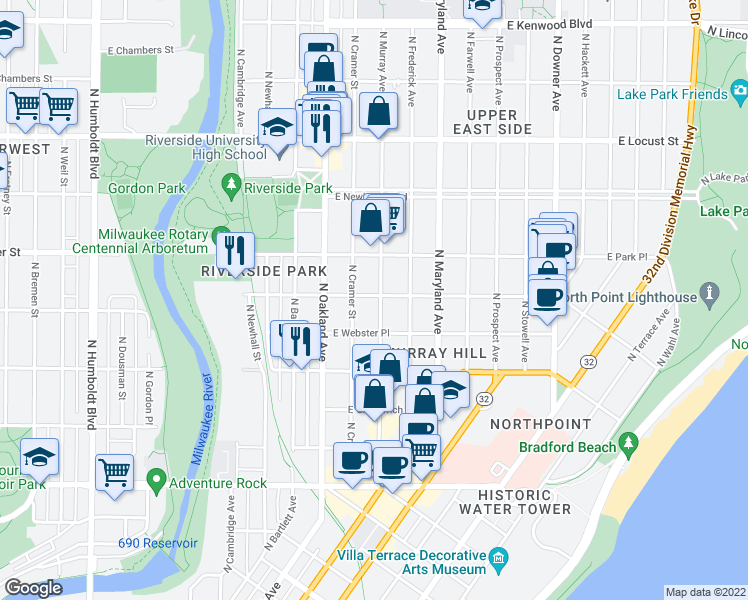 map of restaurants, bars, coffee shops, grocery stores, and more near 2597 North Murray Avenue in Milwaukee