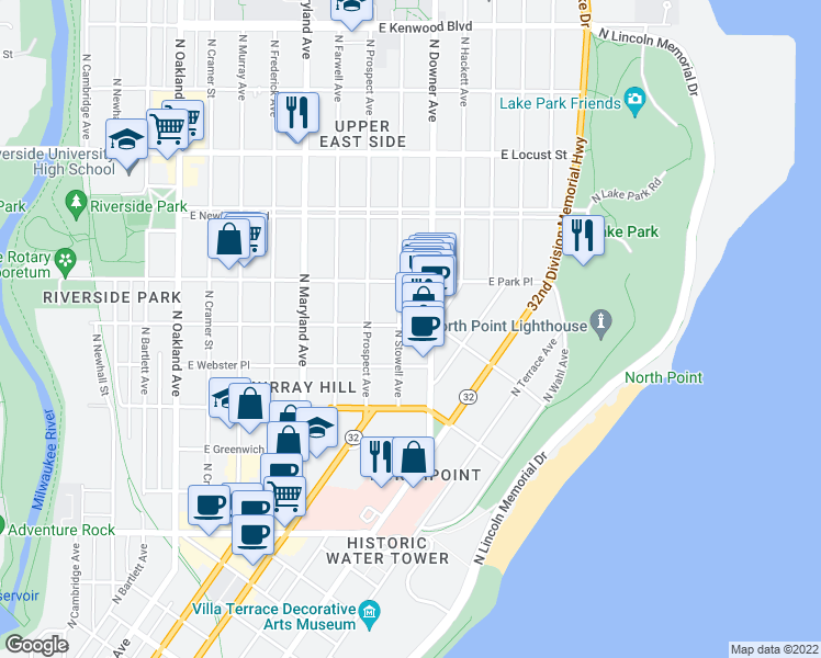 map of restaurants, bars, coffee shops, grocery stores, and more near 2511 East Belleview Place in Milwaukee