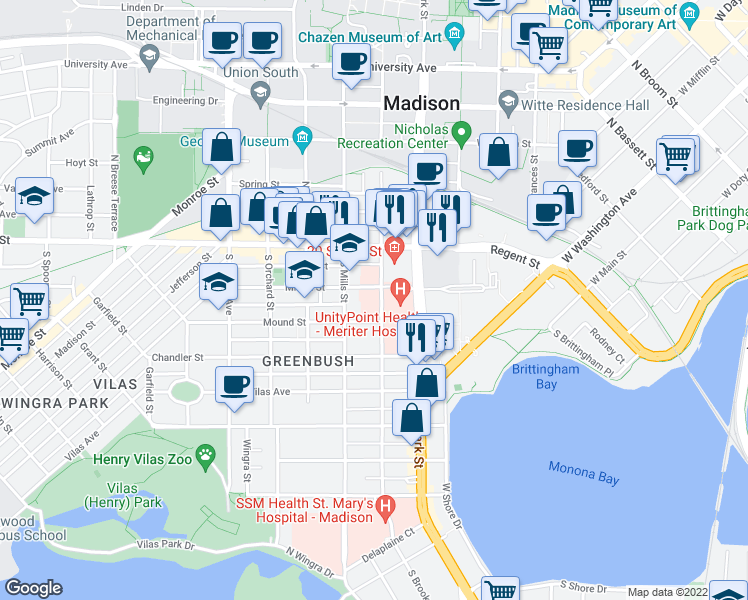 map of restaurants, bars, coffee shops, grocery stores, and more near 110 South Brooks Street in Madison