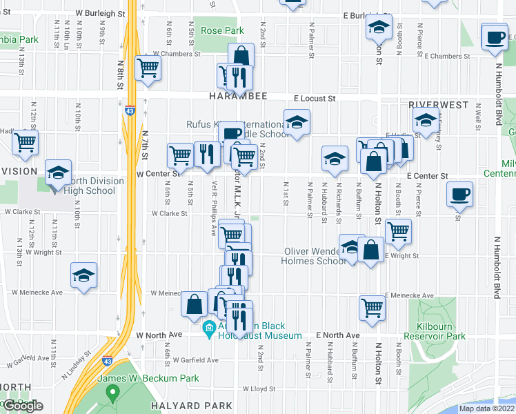 map of restaurants, bars, coffee shops, grocery stores, and more near 2613 North 2nd Street in Milwaukee