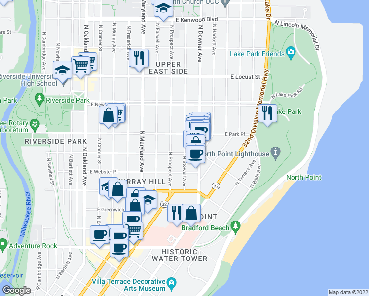 map of restaurants, bars, coffee shops, grocery stores, and more near 2613 N Stowell Ave in Milwaukee