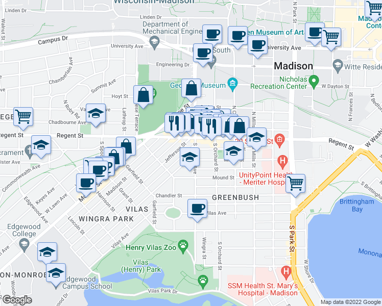 map of restaurants, bars, coffee shops, grocery stores, and more near 1504 Adams Street in Madison