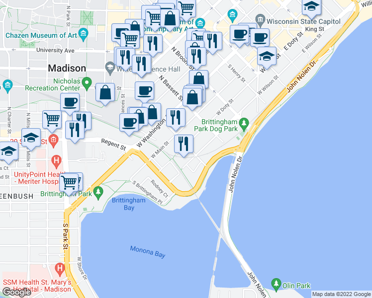 map of restaurants, bars, coffee shops, grocery stores, and more near 202 South Bedford Street in Madison