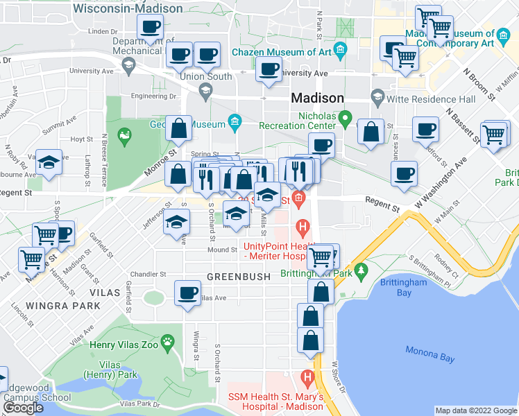 map of restaurants, bars, coffee shops, grocery stores, and more near 1102 Bowen Court in Madison