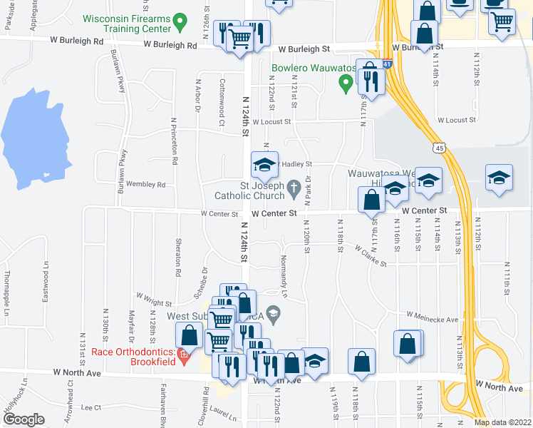 map of restaurants, bars, coffee shops, grocery stores, and more near 2621 Normandy Court in Wauwatosa