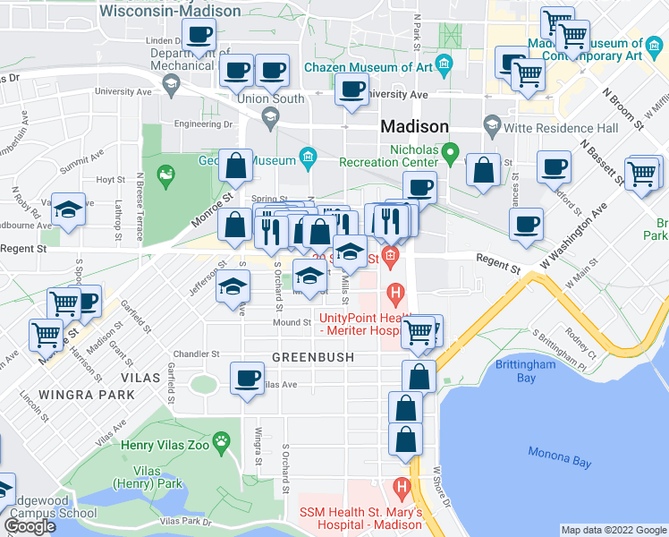 map of restaurants, bars, coffee shops, grocery stores, and more near 1116 Bowen Court in Madison