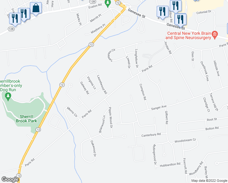 map of restaurants, bars, coffee shops, grocery stores, and more near 135 Paris Road in New Hartford