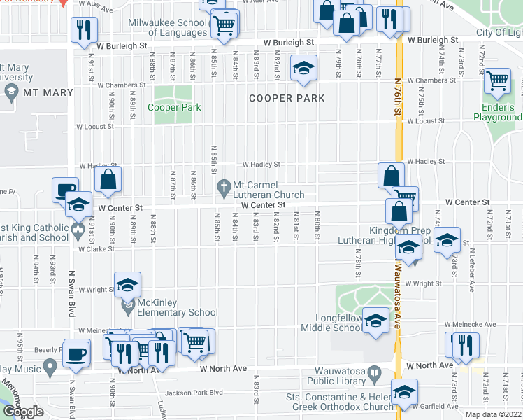 map of restaurants, bars, coffee shops, grocery stores, and more near 8225 West Center Street in Milwaukee