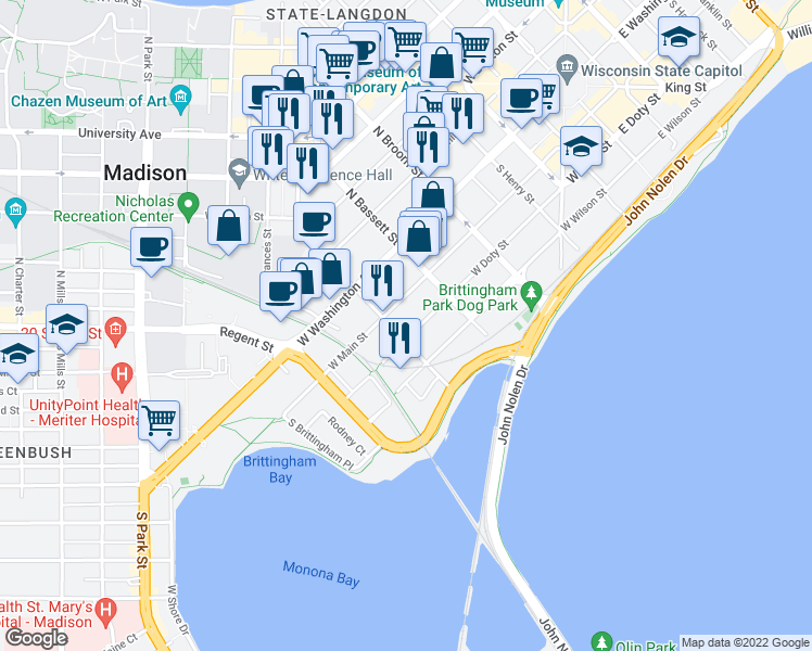 map of restaurants, bars, coffee shops, grocery stores, and more near 546 West Doty Street in Madison