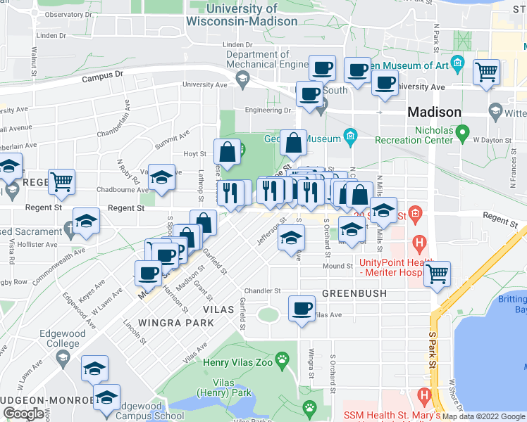 map of restaurants, bars, coffee shops, grocery stores, and more near Regent St & Madison St in Madison