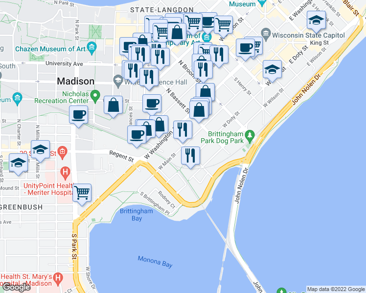 map of restaurants, bars, coffee shops, grocery stores, and more near West Main Street & South Bedford Street in Madison