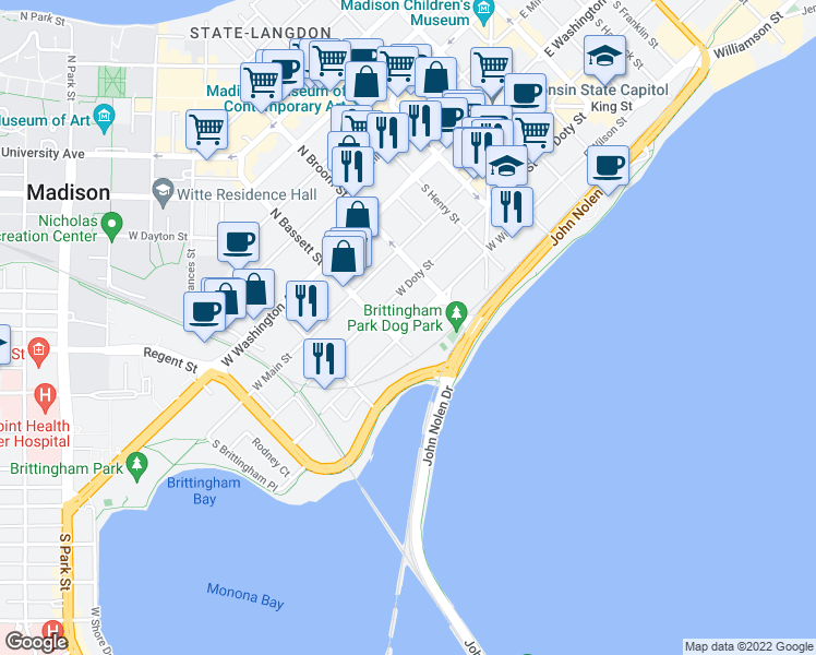 map of restaurants, bars, coffee shops, grocery stores, and more near 444 West Wilson Street in Madison