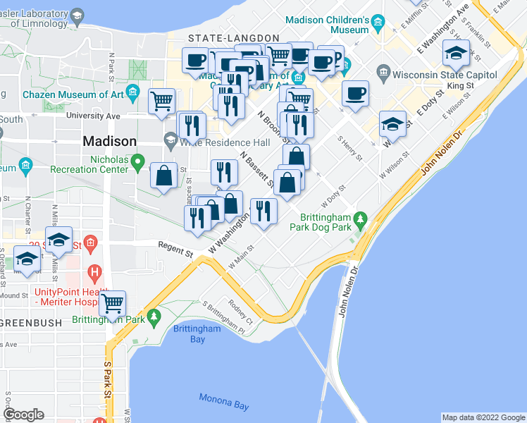 map of restaurants, bars, coffee shops, grocery stores, and more near 535 West Washington Avenue in Madison