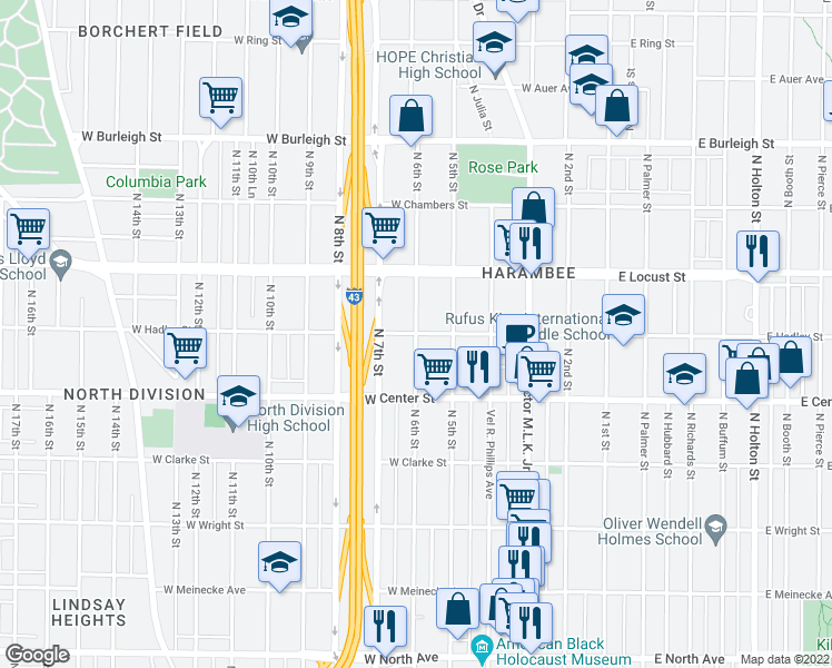 map of restaurants, bars, coffee shops, grocery stores, and more near North 6th Street in Milwaukee