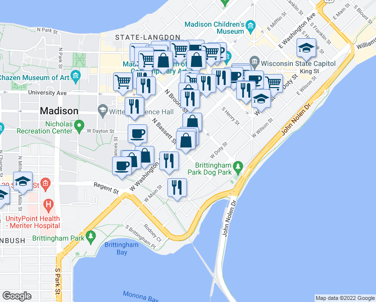 map of restaurants, bars, coffee shops, grocery stores, and more near 21 South Bassett Street in Madison