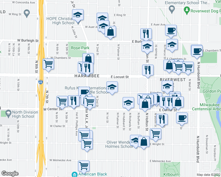 map of restaurants, bars, coffee shops, grocery stores, and more near 100 East Hadley Street in Milwaukee