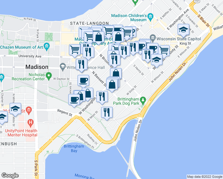 map of restaurants, bars, coffee shops, grocery stores, and more near 11 South Bassett Street in Madison