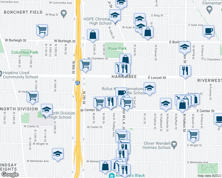 map of restaurants, bars, coffee shops, grocery stores, and more near 2821 North 4th Street in Milwaukee