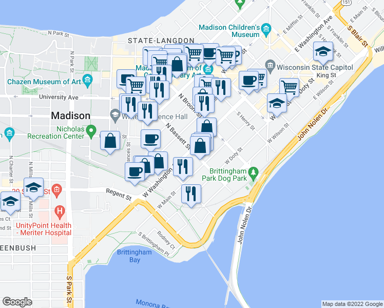 map of restaurants, bars, coffee shops, grocery stores, and more near 501 West Washington Avenue in Madison
