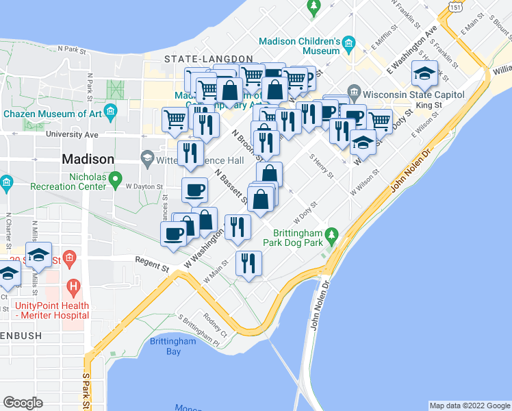 map of restaurants, bars, coffee shops, grocery stores, and more near 451 West Washington Avenue in Madison