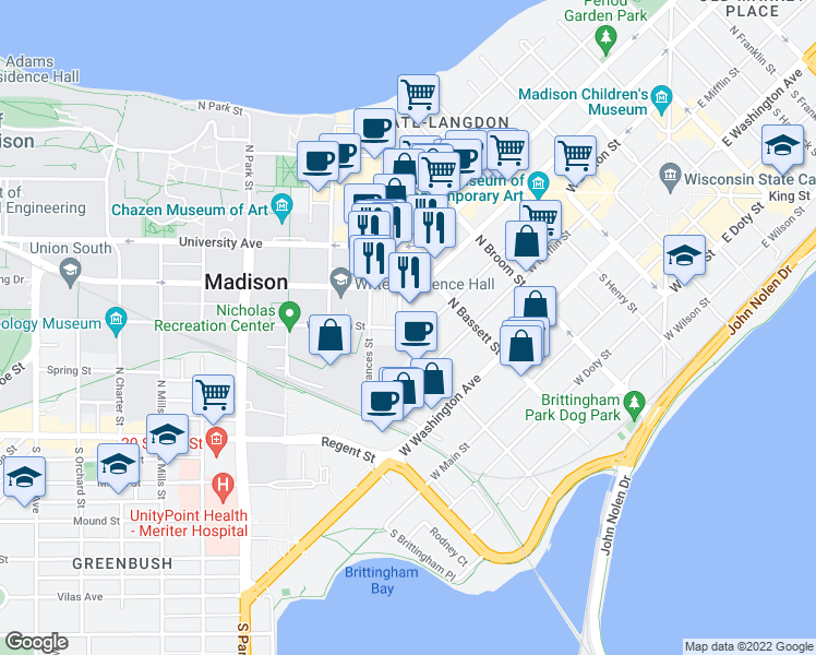map of restaurants, bars, coffee shops, grocery stores, and more near 520 West Dayton Street in Madison
