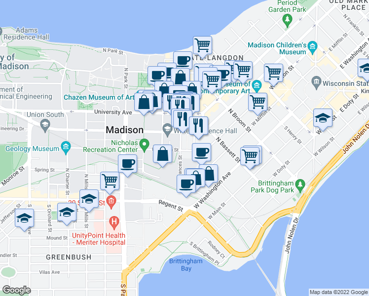 map of restaurants, bars, coffee shops, grocery stores, and more near 552 West Dayton Street in Madison