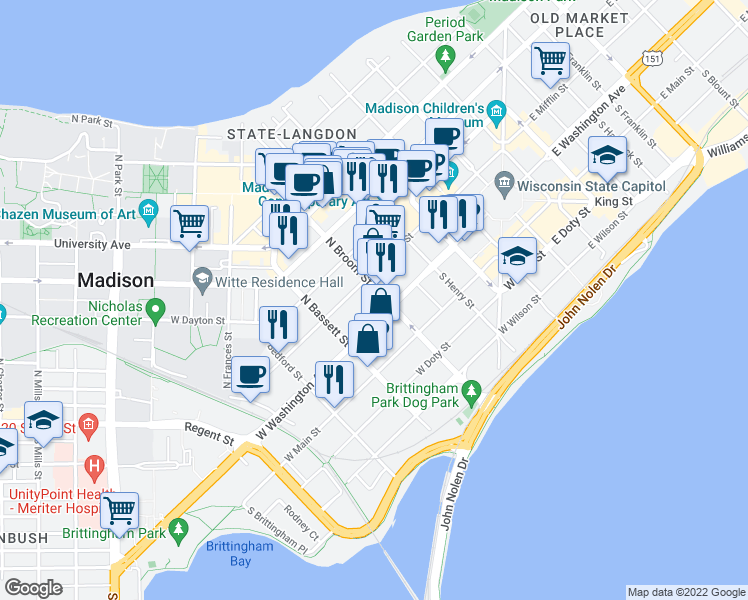 map of restaurants, bars, coffee shops, grocery stores, and more near 410 West Washington Avenue in Madison