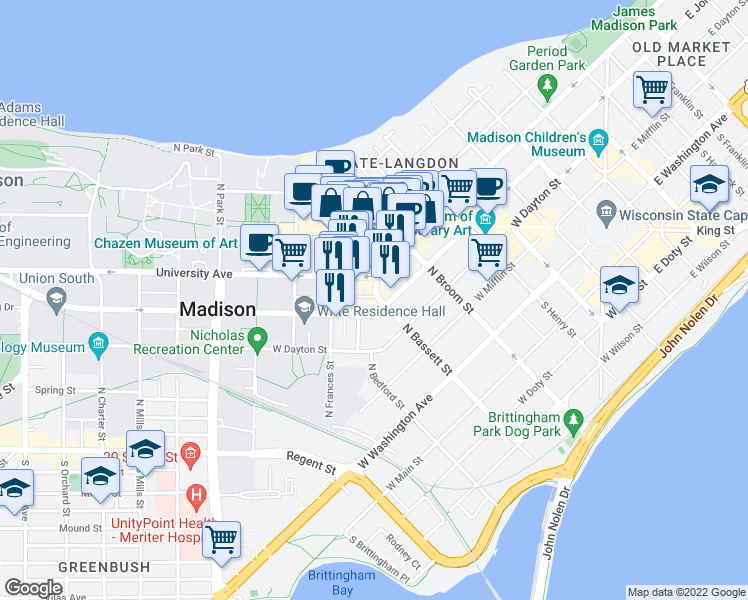 map of restaurants, bars, coffee shops, grocery stores, and more near 312 North Bassett Street in Madison