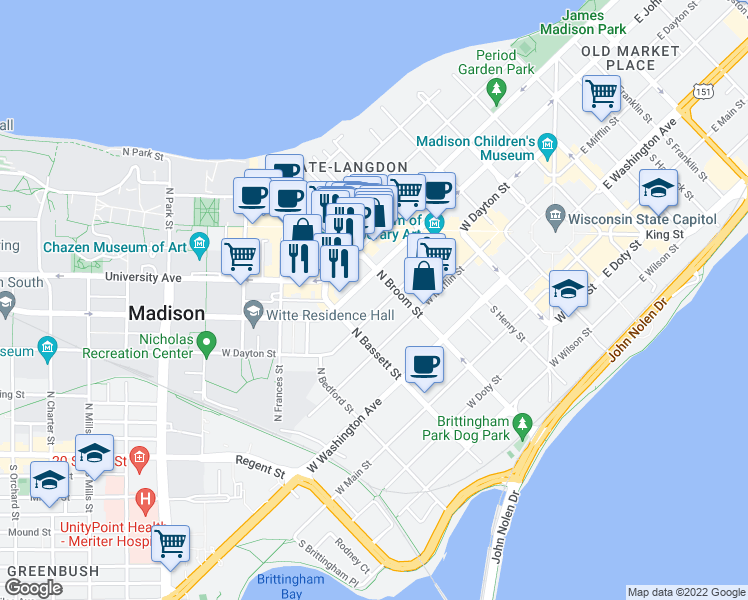 map of restaurants, bars, coffee shops, grocery stores, and more near 420 West Dayton Street in Madison