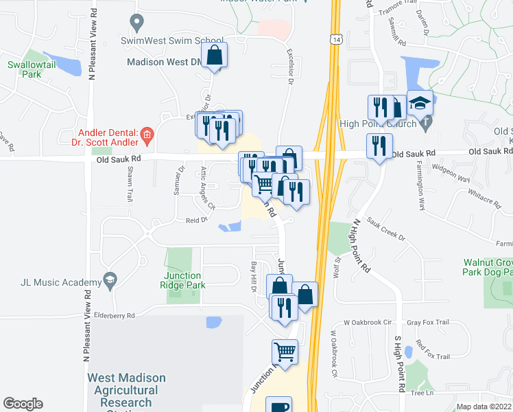 map of restaurants, bars, coffee shops, grocery stores, and more near 550 Junction Road in Madison
