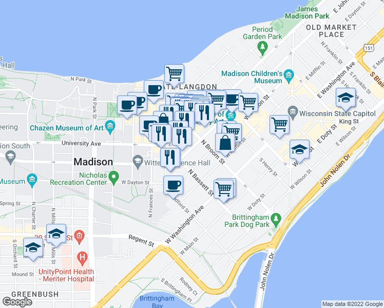 map of restaurants, bars, coffee shops, grocery stores, and more near 433 West Johnson Street in Madison