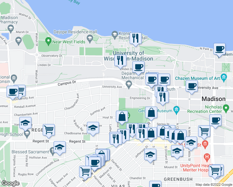 map of restaurants, bars, coffee shops, grocery stores, and more near 308 North Breese Terrace in Madison