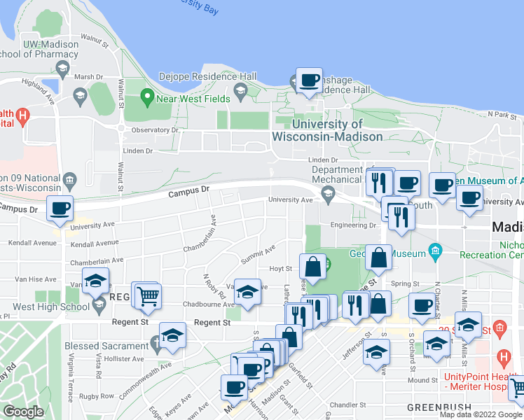 map of restaurants, bars, coffee shops, grocery stores, and more near 306 North Prospect Avenue in Madison