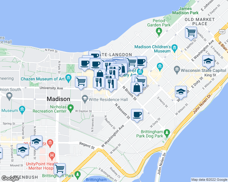 map of restaurants, bars, coffee shops, grocery stores, and more near 430 West Johnson Street in Madison