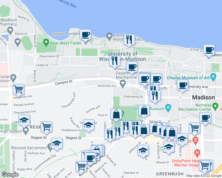 map of restaurants, bars, coffee shops, grocery stores, and more near 318 North Breese Terrace in Madison